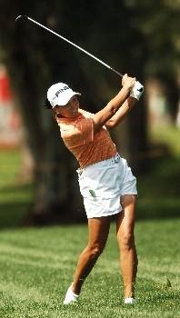 Sherri Steinhauer hits her second shot on the 9th fairway during the third round of the LPGA's 2005 Kraft Nabisco Championship, at Mission Hills Country Club in Rancho Mirage, California March 26, 2005.