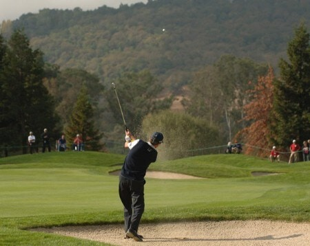 Mark McNulty hits from a fairway bunker on the first fairway during the third round of the Champions Tour 2005 Charles Schwab Cup Championship at Sonoma Golf Club in Sonoma, California October 29, 2005.Photo by Steve Grayson/WireImage.com