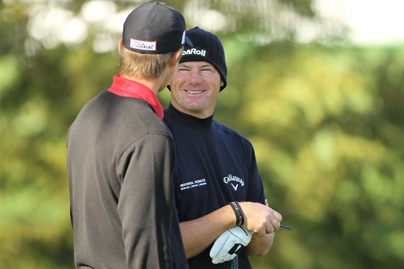 PEBBLE BEACH, CA - FEBRUARY 14:  Alex Cejka of Germany speak with playing partner Matt Jones on the second hole during the final round of the AT&T Pebble Beach National Pro-Am Pebble Beach Golf Links on February 14, 2010 in Pebble Beach, California.  (Photo by Ezra Shaw/Getty Images)