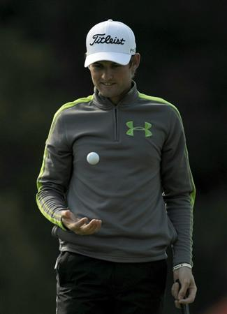 PACIFIC PALISADES, CA - FEBRUARY 17:  Michael Sim of Australia reacts after his birdie on the 12th hole during the first round of the Northern Trust Open at the Riviera Country Club on February 17, 2011 in Pacific Palisades, California.  (Photo by Harry How/Getty Images)