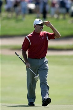 GLENVIEW, IL - JUNE 1:  David McKenzie salutes the crowd as he walks on the 18th green  during The Final Round of the Bank of America Open at The Glen Club on June 1, 2008 in Glenview, Illinois. (Photo by Scott Boehm/Getty Images)