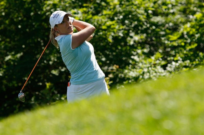 BETHLEHEM, PA - JULY 12:  Cristie Kerr tees off on the 9th hole during the final round of the 2009 U.S. Women's Open at Saucon Valley Country Club on July 12, 2009 in Bethlehem, Pennsylvania.  (Photo by Chris Graythen/Getty Images)