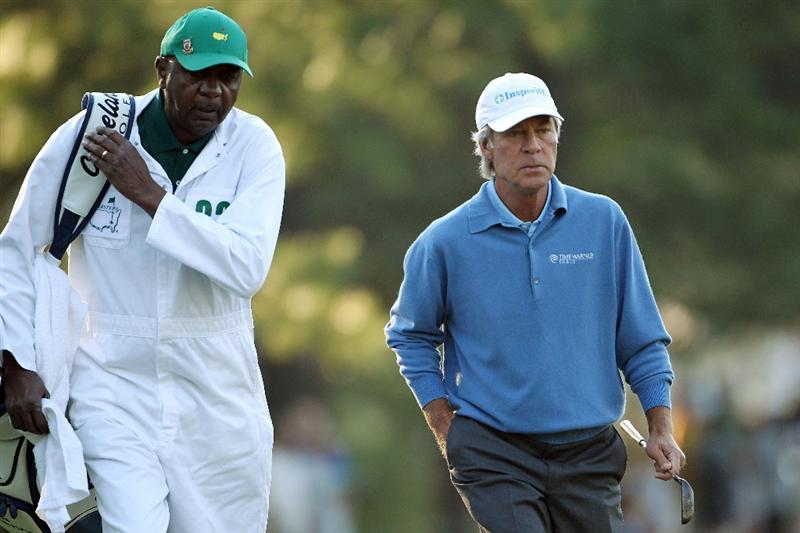 AUGUSTA, GA - APRIL 07:  Carl Jackson caddies for Ben Crenshaw during the first round of the 2011 Masters Tournament at Augusta National Golf Club on April 7, 2011 in Augusta, Georgia.  This is Jackson's 50th Masters on the bag.  (Photo by Jamie Squire/Getty Images)