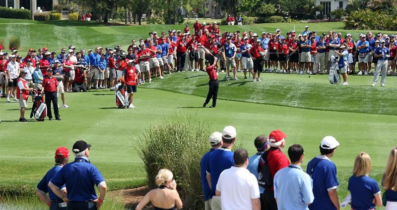 ORLANDO, FL - MARCH 16:  Tiger Woods of the USA and the Isleworth Team at the 7th hole during the first day of the 2009 Tavistock Cup at the Lake Nona Golf and Country Club, on March 16, 2009 in Orlando, Florida  (Photo by David Cannon/Getty Images)