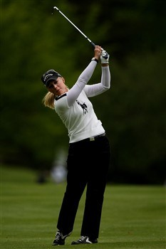 CLIFTON, NJ - MAY 18:  Morgan Pressel watches her second shot on the 14th hole during the final round of the Sybase Classic presented by ShopRite on May 18, 2008 at the Upper Montclair Country Club in Clifton, New Jersey.  (Photo by Travis Lindquist/Getty Images)