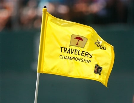 CROMWELL, CT - JUNE 21:  A Travels Championship flag on the 17th green during the third round of the Travelers Championship at TPC River Highlands held on June 21, 2008 in Cromwell, Connecticut. (Photo by Jim Rogash/Getty Images)