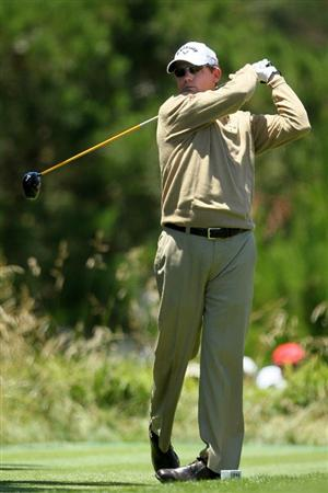 PEBBLE BEACH, CA - JUNE 17:  Shaun Micheel hits his tee shot on the on the second hole during the first round of the 110th U.S. Open at Pebble Beach Golf Links on June 17, 2010 in Pebble Beach, California.  (Photo by Jeff Gross/Getty Images)