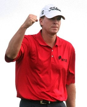 MARANA, AZ - FEBRUARY 21:  Steve Stricker celebrates a birdie putt to defeat Hunter Mahan on the 20th hole during the second round matches of the WGC-Accenture Match Play Championship at The Gallery at Dove Mountain on February 21, 2008 in Marana, Arizona.  (Photo by Scott Halleran/Getty Images)