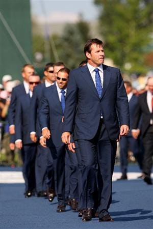 LOUISVILLE, KY - SEPTEMBER 18:  Nick Faldo, captain of the European leads his team to the stage during the opening ceremony during the 2008 Ryder Cup at Valhalla Golf Club on September 18, 2008 in Louisville, Kentucky.  (Photo by Andrew Redington/Getty Images)