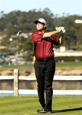 PEBBLE BEACH, CA - FEBRUARY 12:  D.A. Points hits tees off on the 7th hole during the third round of the AT&T Pebble Beach National Pro-Am at the Pebble Beach Golf Links on February 12, 2011 in Pebble Beach, California.  (Photo by Ezra Shaw/Getty Images)