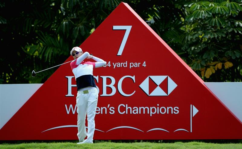 SINGAPORE - FEBRUARY 24:  Na Yeon Choi of South Korea in action during the first round of the HSBC Women's Champions at the Tanah Merah Country Club on February 24, 2011 in Singapore.  (Photo by Andrew Redington/Getty Images)