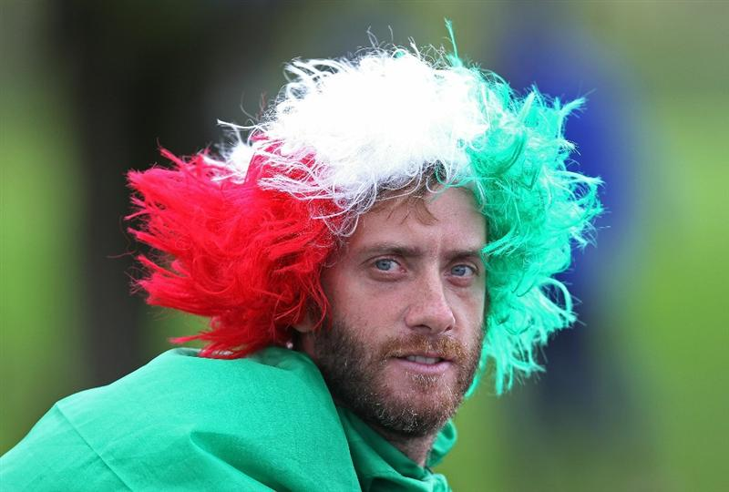 NEWPORT, WALES - OCTOBER 03:  A golf fan wearing an Italian wig looks on during the  Fourball & Foursome Matches during the 2010 Ryder Cup at the Celtic Manor Resort on October 3, 2010 in Newport, Wales. (Photo by Andy Lyons/Getty Images)