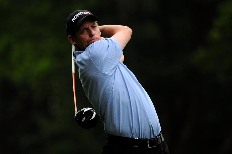 VIRGINIA WATER, ENGLAND - MAY 20:  Anders Hansen of Denmark tees off during the first round of the BMW PGA Championship on the West Course at Wentworth on May 20, 2010 in Virginia Water, England.  (Photo by Richard Heathcote/Getty Images)