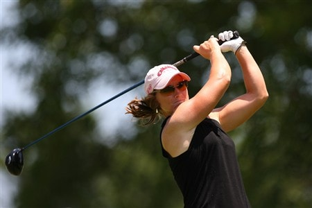 ROGERS, AR - JULY 6:  Kristy McPherson watches a tee shot during the final round of the P&G Beauty NW Arkansas Championship presented by John Q. Hammons on July 6, 2008 at Pinnacle Country Club in Rogers, Arkansas. (Photo by G. Newman Lowrance/Getty Images)