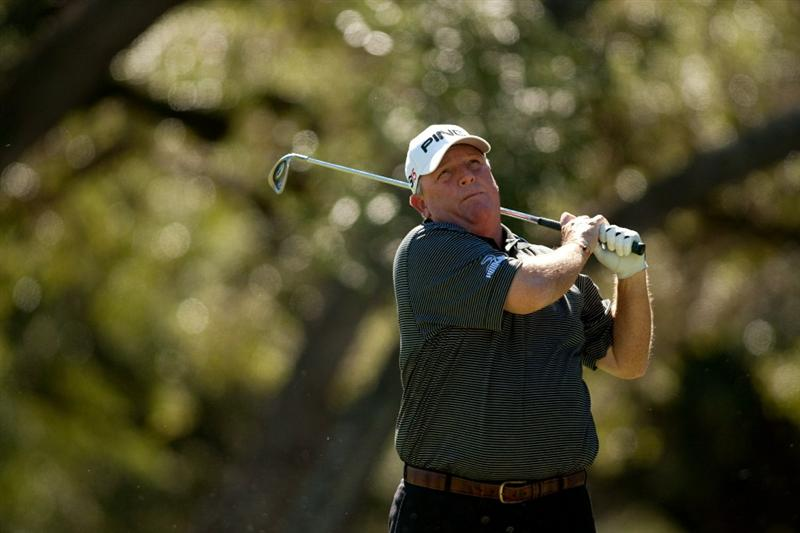 SAN ANTONIO, TX - OCTOBER 29: Mark Calcavecchia watches a tee shot during the first round of the AT&T Championship at Oak Hills Country Club on October 29, 2010 in San Antonio, Texas. (Photo by Darren Carroll/Getty Images)