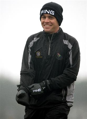 BALTRAY, IRELAND - MAY 15:  Louis Oosthuizen of South Africa smiles on the first hole during the second round of The 3 Irish Open at County Louth Golf Club on May 15, 2009 in Baltray, Ireland.  (Photo by Andrew Redington/Getty Images)