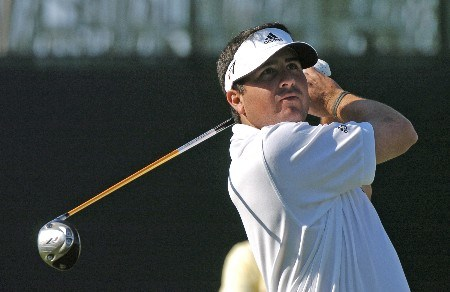 Pat Perez drives from the 18th  tee as  play in the final holes of the third round continues at  the Bay Hill Invitational March 20, 2005 in Orlando.