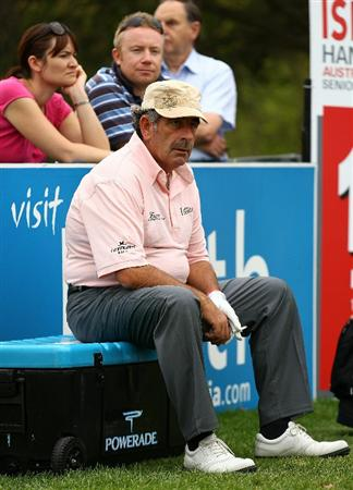 PERTH, AUSTRALIA - NOVEMBER 20:  Sam Torrance of Scotland waits to tee off on the 12th hole during day two of the 2010 Australian Senior Open at Royal Perth Golf Club on November 20, 2010 in Perth, Australia.  (Photo by Paul Kane/Getty Images)