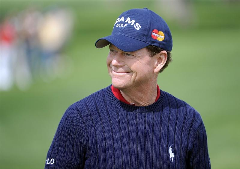 NEWPORT BEACH, CA - MARCH 05:  Tom Watson smiles on the fifth hole during the first round of the Toshiba Classic at the Newport Beach Country Club on March 5, 2010 in Newport Beach, California.  (Photo by Harry How/Getty Images)