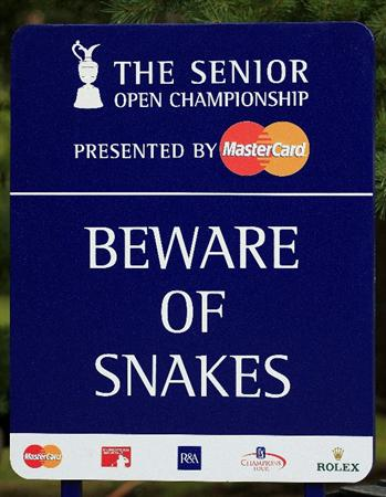 SUNNINGDALE, ENGLAND - JULY 23:  A warning sign during the first round of The Senior Open Championship presented by MasterCard held on the Old Course, Sunningdale Golf Club on July 23, 2009 in Sunningdale, England.  (Photo by Phil Inglis/Getty Images)