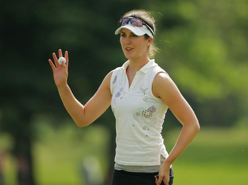 CORNING, NY - MAY 23:  Sandra Gal of Germany acknowledges the gallery during the third round of the LPGA Corning Classic at the Corning Country Club held on May 23, 2009 in Corning, New York.  (Photo by Michael Cohen/Getty Images)