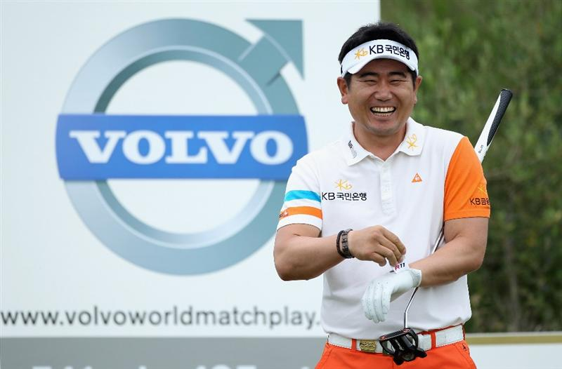 CASARES, SPAIN - MAY 20:  Y.E. Yang of Korea laughs on the third tee during the group stages of the Volvo World Match Play Championships at Finca Cortesin on May 20, 2011 in Casares, Spain.  (Photo by Warren Little/Getty Images)