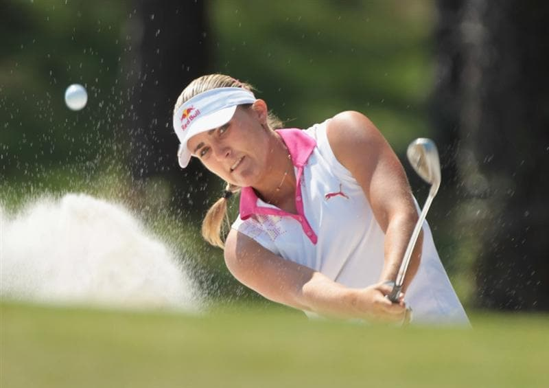 MOBILE, AL - APRIL 30:  Alexis Thompson watches a bunker shot on the 16th hole during the third round of the Avnet LPGA Classic at the Crossings Course at the Robert Trent Jones Trail at Magnolia Grove on April 30, 2011 in Mobile, Alabama.  (Photo by Scott Halleran/Getty Images)