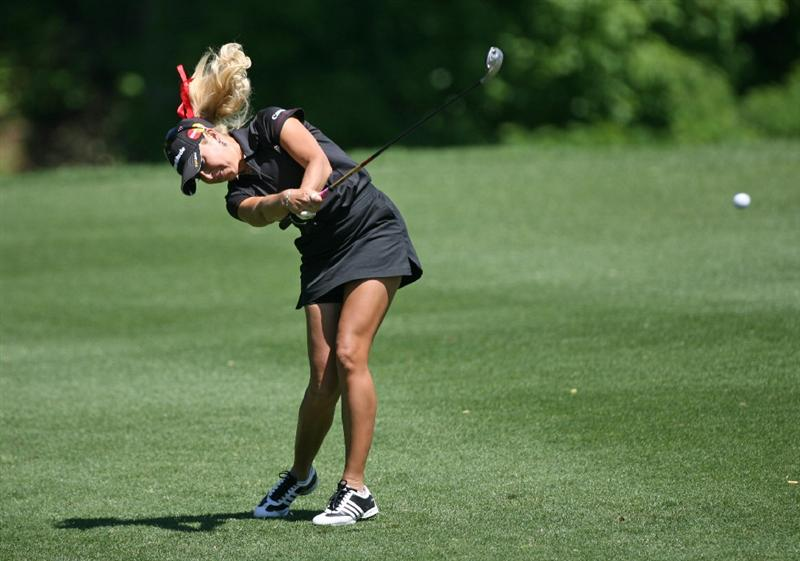 WILLIAMSBURG, VA - MAY 10 : Natalie Gulbis hits her second shot on the 8th hole during the final round of the Michelob Ultra Open at Kingsmill Resort on May 10, 2009 in Williamsburg, Virgina. (Photo by Hunter Martin/Getty Images)