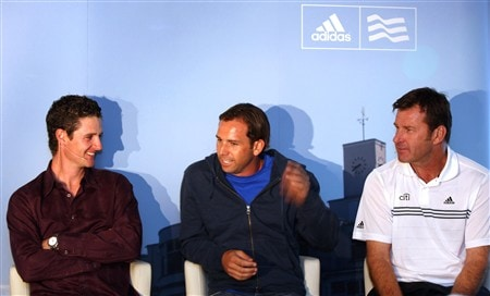 SOUTHPORT, UNITED KINGDOM - JULY 14:  Justin Rose of England, Sergio Garcia of Spain and Nick Faldo of England pictured at a press conference prior to the 137th Open Championship on July 14, 2008 at Royal Birkdale Golf Course, England.  (Photo by Ross Kinnaird/Getty Images)