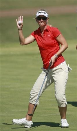 PRATTVILLE, AL - OCTOBER 1:  Louise Friberg of Sweden waves after completing her first round play on the ninth green in the Navistar LPGA Classic at the Robert Trent Jones Golf Trail at Capitol Hill on October 1, 2009 in  Prattville, Alabama.  (Photo by Dave Martin/Getty Images)