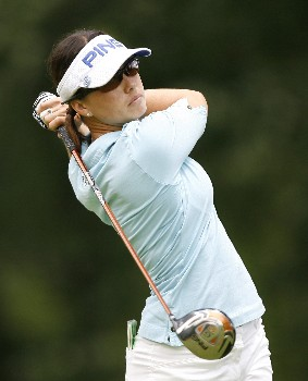 SYLVANIA, OH - JULY 12:  Stacy Prammanasudh hits her tee shot on the ninth hole during the first round of the Jamie Farr Owens Corning Classic at Highland Meadows Golf Club July 12, 2007 in Sylvania, Ohio. (Photo by Hunter Martin/Getty Images)