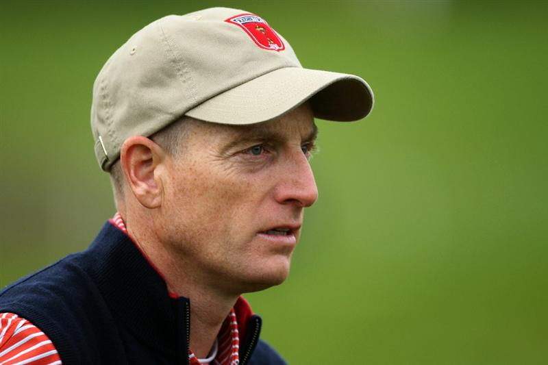 NEWPORT, WALES - SEPTEMBER 30:  Jim Furyk of the USA looks on during a practice round prior to the 2010 Ryder Cup at the Celtic Manor Resort on September 30, 2010 in Newport, Wales.  (Photo by Andy Lyons/Getty Images)