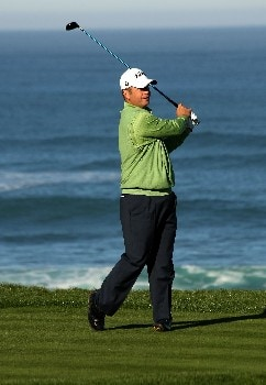 PEBBLE BEACH, CA - FEBRUARY 9:  Dudley Hart hits his  tee shot on the fourth hole during the third round of the AT&T Pebble Beach National Pro-Am on February 9, 2008 at Spyglass Hill Golf Course in Pebble Beach. California.  (Photo by Stephen Dunn/Getty Images)