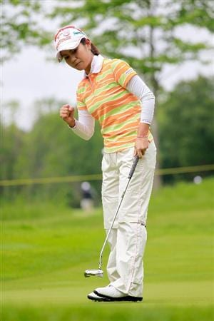 GLADSTONE, NJ - MAY 20: Ai Miyazato of Japan reacts after a birdie on the first hole during round two of the Sybase Match Play Championship at Hamilton Farm Golf Club on May 20, 2011 in Gladstone, New Jersey. (Photo by Chris Trotman/Getty Images)