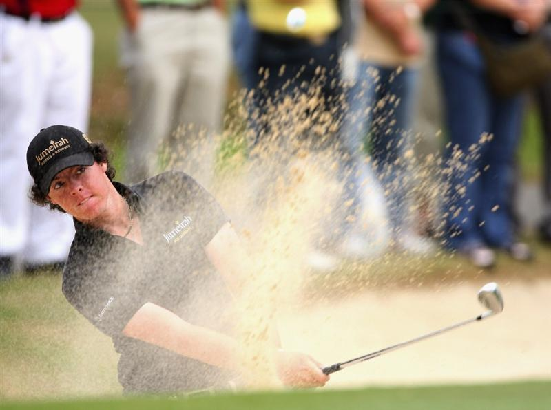 HONG KONG, CHINA - NOVEMBER 22:  Rory McIlroy of Nothern Ireland plays his bunker shot on the nineth hole during the third round of the UBS Hong Kong Open at the Hong Kong Golf Club on November 22, 2008 in Fanling, Hong Kong.  (Photo by Stuart Franklin/Getty Images)