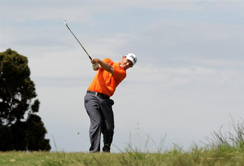 MELBOURNE, AUSTRALIA - NOVEMBER 14:  Greg Chalmers of New Zealand plays an approach shot on the 9th hole during round three of the 2009 Australian Masters at Kingston Heath Golf Club on November 14, 2009 in Melbourne, Australia.  (Photo by Mark Dadswell/Getty Images)