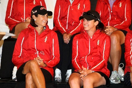 PORTLAND, OR - AUGUST 26:  Laura Diaz (L) and Nicole Castrale share a smile after being announced by Besty King as her captain's picks for the United States Solheim Cup team during a press conference after the final round of LPGA Safeway Classic at the Columbia Edgewater Country Club on August 26, 2007 in Portland, Oregon.  (Photo by Jonathan Ferrey/Getty Images)