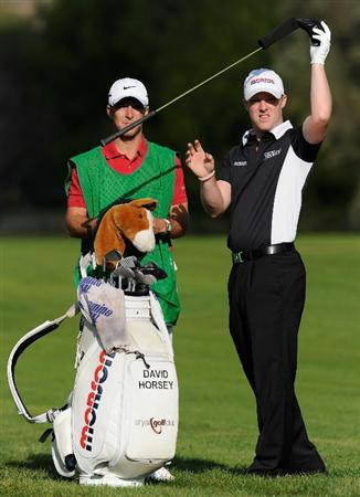 CASTELLON DE LA PLANA, SPAIN - OCTOBER 22:  David Horsey of England and caddie on the 17th hole during the second round of the Castello Masters Costa Azahar at the Club de Campo del Mediterraneo on October 22, 2010 in Castellon de la Plana, Spain.  (Photo by Stuart Franklin/Getty Images)