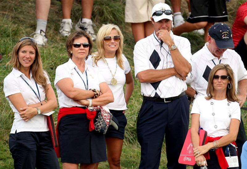 LOUISVILLE, KY - SEPTEMBER 19:  USA team captain Paul Azinger waits with Amy Mickelson and USA team wifes and partners during the afternoon four-ball matches on day one of the 2008 Ryder Cup at Valhalla Golf Club on September 19, 2008 in Louisville, Kentucky.  (Photo by Ross Kinnaird/Getty Images)