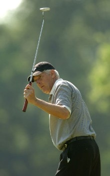 Andy North reacts to a putt hits on the fourth green during the first round of the 2005 U.S. Senior Open Championship at NCR Country Club, July 28, 2005 in Kettering, Ohio.Photo by Steve Grayson/WireImage.com