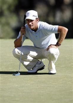 RENO, NV - AUGUST 2:  Alejandro Canizares of Spain lines up a putt on the 17th green during the third round of the Legends Reno-Tahoe Open at the Montreux Golf & Country Club on August 2, 2008 in Reno, Nevada. (Photo by Max Morse/Getty Images)