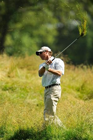 FARMINGDALE, NY - JUNE 17:  Jeff Brehaut hits a shot from the rough during the third day of previews to the 109th U.S. Open on the Black Course at Bethpage State Park on June 17, 2009 in Farmingdale, New York.  (Photo by Sam Greenwood/Getty Images)