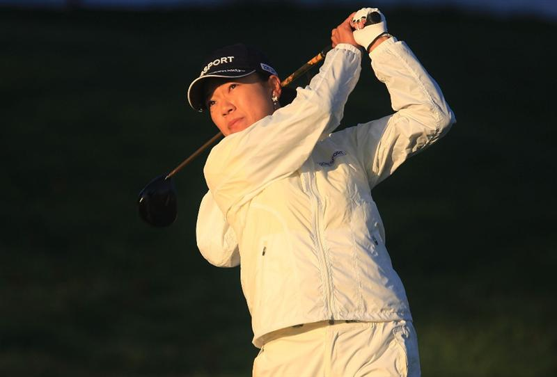 HUIXQUILUCAN, MEXICO - MARCH 20:  Shiho Oyama of Japan watches her tee shot on the 10th hole during the first round of the MasterCard Classic at the BosqueReal Country Club on March 20, 2009 in Huixquiucan, Mexico.  (Photo by Scott Halleran/Getty Images)