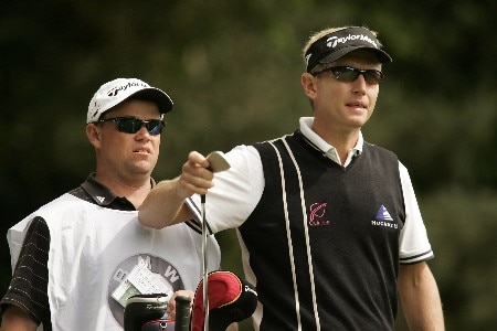 Philip Golding selects a club during the final round of the 2005 BMW Championship at Wentworth Golf Club's West Course. May 29, 2005Photo by Pete Fontaine/WireImage.com