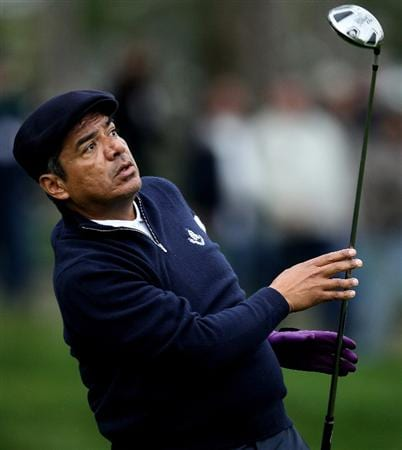 PEBBLE BEACH, CA - FEBRUARY 12:  Comedian George Lopez hits his tee shot on the 11th hole during the second round of the AT&T Pebble Beach National Pro-Am at Spyglass Hill Golf Course on February 12, 2010 in Pebble Beach, California.  (Photo by Stephen Dunn/Getty Images)