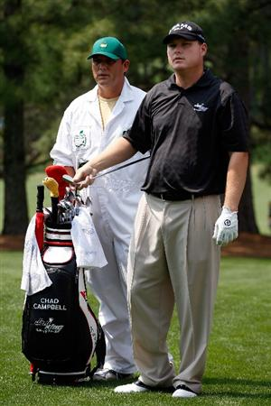 AUGUSTA, GA - APRIL 10:  Chad Campbell waits with his caddie Judd Burkett on the 17th hole during the second round of the 2009 Masters Tournament at Augusta National Golf Club on April 10, 2009 in Augusta, Georgia.  (Photo by Jamie Squire/Getty Images)