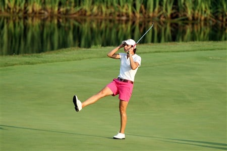 HAVRE DE GRACE, MD - JUNE 07:  Lorena Ochoa of Mexico just fails to birdie the 18th hole during the third round of the 2008 McDonald's LPGA Championship held at Bulle Rock Golf Course, on June 7, 2008 in Havre de Grace, Maryland.  (Photo by David Cannon/Getty Images)