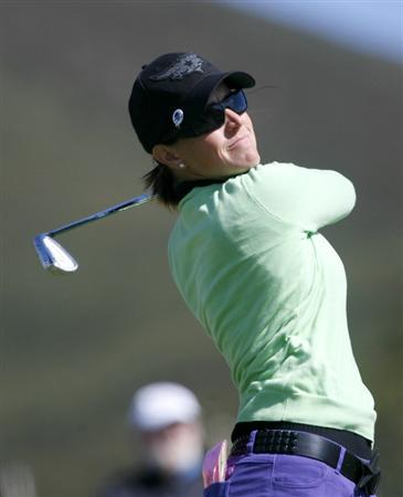 DANVILLE, CA - OCTOBER 10: Mollie Fankhauser makes a tee shot on the 16th hole during the second round of the LPGA Longs Drugs Challenge at the Blackhawk Country Club October 10, 2008 in Danville, California. (Photo by Max Morse/Getty Images)
