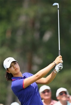 MUNICH, GERMANY - MAY 30:  Michelle Wie of USA plays her tee shot on the 12th hole during the second round of the Hypo Vereinsbank Ladies German Open Golf at Golfpark Gut Hausern on May 30, 2008 near Munich, Germany.  (Photo by Stuart Franklin/Bongarts/Getty Images)