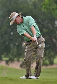 FORT WORTH , TX - MAY 22:  Briny Baird hits his approach shot into the 10th hole  during the first round of the Crown Plaza Invitational at Colonial Country Club on May 22, 2008 in Fort Worth, Texas.  (Photo by Marc Feldman/Getty Images)